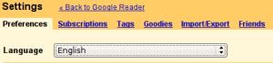 Idioma inglés en Google Reader
