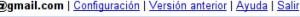 Menú de opciones de Gmail