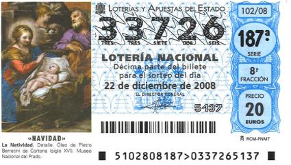 número 33726 del sorteo de lotería de Navidad