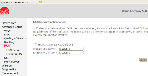 Configuración DNS del Huawei 520