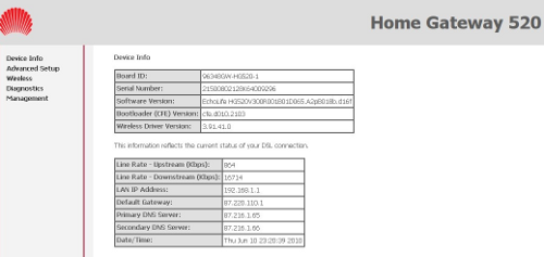 Pantalla de estado del Huawei 520